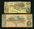Confederate Notes:Group Lots, T44 $1 1862.. T69 $5 1864.. ... (Total: 2 notes)