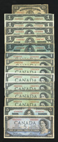 Canadian Currency: , Great North Mixture Very Good or Better.. ... (Total: 15 notes)