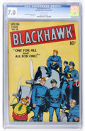 Golden Age (1938-1955):War, Blackhawk #18 (Quality, 1948) CGC FN/VF 7.0 Off-white pages....
