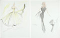 Movie/TV Memorabilia:Original Art, Ann-Margret Costume Sketches by Edith Head.... (Total: 2 Items)