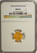 Commemorative Gold: , 1903 G$1 Louisiana Purchase/Jefferson MS64 NGC. NGC Census:(561/832). PCGS Population (915/1276). Mintage: 17,500. Numisme...