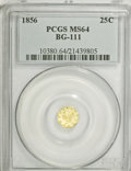 California Fractional Gold: , 1856 25C Liberty Octagonal 25 Cents, BG-111, R.3, MS64 PCGS. PCGSPopulation (33/11). NGC Census: (12/6). (#10380)...