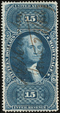 Stamps, $15 Blue, Mortgage, Perforated, Old Paper (R97c),...