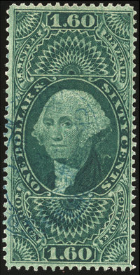 1862-71 First Issue, $1.60 Foreign Exchange, perf, old paper (R79c)