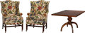 Movie/TV Memorabilia:Memorabilia, Glenn Ford's Pair of Wing-Backed Chairs with Table.... (Total: 3Items)