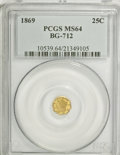 California Fractional Gold: , 1869 25C Liberty Octagonal 25 Cents, BG-712, High R.4, MS64 PCGS.PCGS Population (18/23). NGC Census: (1/4). (#10539)...