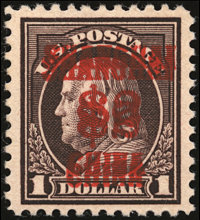 1919, $2 on $1 Violet Brown, Double Surcharge (K16a)