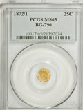 California Fractional Gold: , 1872/1 25C Indian Octagonal 25 Cents, BG-790, R.3, MS65 PCGS. PCGSPopulation (28/4). NGC Census: (4/4). (#10617)...