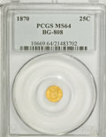 California Fractional Gold: , 1870 25C Liberty Round 25 Cents, BG-808, R.3, MS64 PCGS. PCGSPopulation (58/57). NGC Census: (7/15). (#10669)...