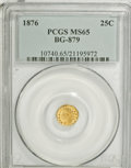 California Fractional Gold: , 1876 25C Indian Round 25 Cents, BG-879, R.4, MS65 PCGS. PCGSPopulation (10/1). NGC Census: (4/0). (#10740)...
