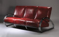 Furniture , KEM (KARL EMMANUEL MARTIN) WEBER FOR ROYALCHROME CO.. A Chromium Plated Metal and Vinyl Upholstered Sofa, circa 1930. 35 x 7...