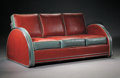 Furniture , DONALD DESKEY. A Chromium Plated Metal and Vinyl Upholstered Sofa, circa 1935. 31-1/2 x 70-1/2 x 35-1/2 inches (80.0 x 179.1...
