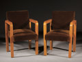 Furniture : French, LA MAISON DESNY. A Pair of Maple Veneered Armchairs, 1930s. 33 x 22 x 21-1/2 inches (83.8 x 55.9 x 54.6 cm) each. ... (Total: 2 Items)