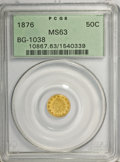 California Fractional Gold: , 1876 50C Indian Round 50 Cents, BG-1038, R.4, MS63 PCGS. PCGSPopulation (12/3). NGC Census: (2/4). (#10867)...