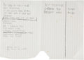 Music Memorabilia:Sheet Music, Rolling Stones - Ron Wood Handwritten Lyrics. ...