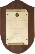 "Music Memorabilia:Awards, Gary Wright ""Dream Weaver"" ASCAP Award to Warner BrothersRecords...."