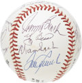 Autographs:Baseballs, Hall of Famers Multi-Signed Baseball. Fifteen Cooperstown heroeshave congregated upon this ONL (White) ball for the discer...