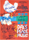 Music Memorabilia:Autographs and Signed Items, Woodstock Music Festival Mini-Poster Signed by Performers....