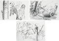 Movie/TV Memorabilia:Original Art, The Nightmare Before Christmas (1993) Storyboard Sketches.... (Total: 3 Items)