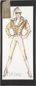 Movie/TV Memorabilia:Costumes, Susan Anton Costume Design Drawing by Bob Mackie....