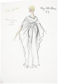 Movie/TV Memorabilia:Original Art, Stella Stevens Costume Design Sketch by Edith Head....