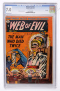 Golden Age (1938-1955):Horror, Web of Evil #5 River City pedigree (Quality, 1953) CGC FN/VF 7.0Off-white pages....