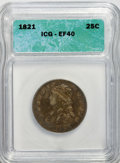 Bust Quarters: , 1821 25C XF40 ICG. NGC Census: (12/115). PCGS Population (15/99). Mintage: 216,851. Numismedia Wsl. Price for NGC/PCGS coin...