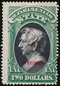 State Dept. Special Printing, 1873, $2 Green & Black, (O68S-D)