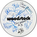 Music Memorabilia:Autographs and Signed Items, Woodstock Performers Signed Drumhead....