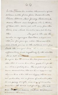 Abraham Lincoln: Important Autograph Manuscript Page. Twenty-three lines in Lincoln's own handwriting from his last Stat...