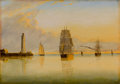 American:Marine, The Hon. Paul H. Buchanan, Jr. Collection. CLEMENT DREW (American,1807-1889). Morning off Boston Light, 1879. Oil on ...