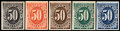 "Stamps, 1c - 50c ""Atlanta"" Plate Proofs (J1-7TC),... (Total: 6 Card)"