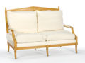 Furniture : American, T.H. ROBSJOHN-GIBBINGS FOR WIDDICOMB. An Upholstered Birch Settee and Armchair, circa 1950. 37-3/4 x 55-7/8 x 30-1/2 inches ...