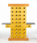 "Furniture , ETTORE SOTTSASS FOR DESIGN GALLERY. ""Mobile Giallo"" A Burlwood, Lacquered Oak, and Gilt Wood Cupboard from the ""Bharata"" Co..."