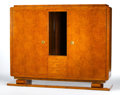 Furniture : French, EMILE-JACQUES RUHLMANN. A Burled Amboyna Two-Door Cabinet with GiltBronze Mounts, circa 1925. Branded verso: (B) twice,...