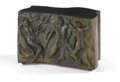 Furniture : American, PHILIP AND KELVIN LAVERNE. A Bronze Relief Side Table, circa 1960. Signed: Philip K LaVerne. 18-1/2 x 28-3/8 x 14 inches...