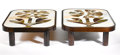 Furniture : French, ROGER CAPRON. A Pair of Mahogany and Ceramic Tile Coffee Tables, circa 1960. Impressed on tile: CAPRON VALLAURIS FRANCE... (Total: 2 Items)