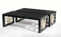 T.H. ROBSJOHN-GIBBINGS FOR WIDDICOMB A Pair of Ebonized and White Gold-Leafed Ash Coffee Tables, circa 1946 Lab