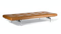 Furniture : Continental, POUL KJAERHOLM FOR E. KOLD CHRISTENSEN. A PK-80 Painted Wood andSteel Day Bed with Leather Mattress, circa 1957. 12 x 75 x ...