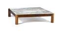 Furniture , A BRAZILIAN CAVIONA AND MARBLE COFFEE TABLE. Circa 1960s. 15 x 56 x 56 inches (38.1 x 142.2 x 142.2 cm). ...