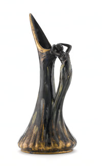JEAN BAPTISTE MASSIER A Gilt Glazed Ceramic Pitcher, circa 1900 Impressed on base: JEROME MASSIER FILS VALLA