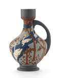 Ceramics & Porcelain, Continental:Modern  (1900 1949)  , METTLACH. An Art Nouveau Painted and Glazed Ceramic Pitcher.Impressed on base: Mettlach Geschun 2486. 7-3/4 inches(19....
