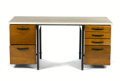 Furniture : French, JEAN PROUVÉ. Aile d' Avion . An Enameled Steel, Oak, and TerrazzoDesk, manufactured by Les Ateliers Jean Prouvé, circa 1950...