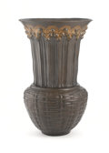 Decorative Arts, French:Other , JEAN DUNAND. A Parcel Gilt Bronze Vase, circa 1913. Inscribed onbase: JEAN DUNAND 1913 with monogram and numbered142...