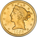Liberty Half Eagles, 1855-O $5 AU55 PCGS....