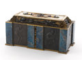 Decorative Arts, Continental, PAUL HAUSTEIN . A Bronze, Ivory, and Multi-Stone Covered Box.Marks: PH in square. 11-1/4 inches (28.6 cm) long. ...