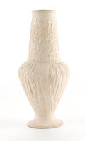 Ceramics & Porcelain, American:Modern  (1900 1949)  , TIFFANY STUDIOS. A Bisque Pottery Vase with Green-Glazed Interior,circa 1910. Incised on base: LCT monogram. 9 inches (...