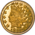 California Fractional Gold, 1852 50C Indian Round 50 Cents, BG-1075, R.7, MS65 PCGS....