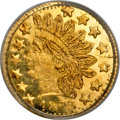 California Fractional Gold, 1873 25C Indian Round 25 Cents, BG-874, Low R.6, MS65 PCGS....