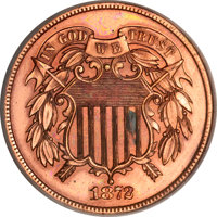 1872 2C Two Cents, Judd-1183, R.8--Improperly Cleaned--NCS. Proof Details....(PCGS# 61454)